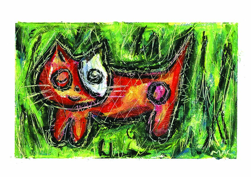 cute kitty greeting card oil pastels
